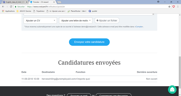 Liste candidatures